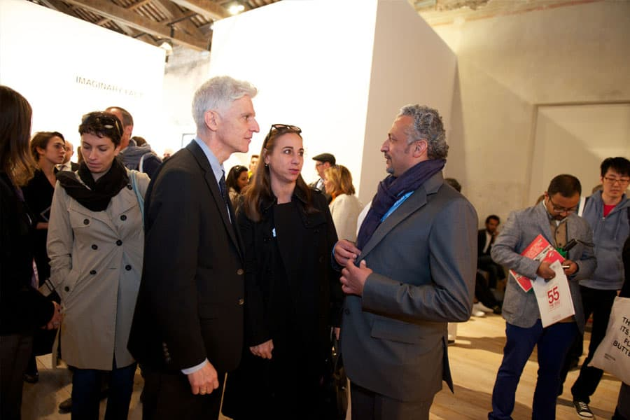 Massimo Bray - Italian Minister of Culutre, Alessandra Priante - Italian Cultural Attache (Middle East) & Artist Mohammed Kazem