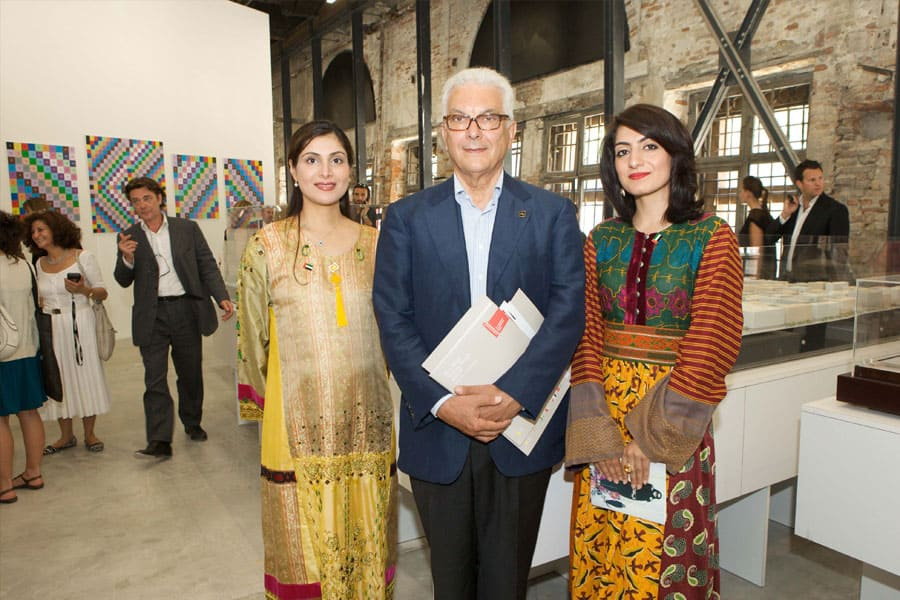 Commissioner Dr Lamees Hamdan, President of La Biennale - Paolo Baratta, and featured artist Lamya Gargash