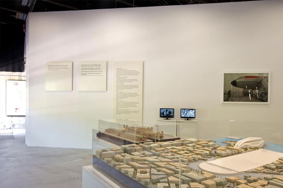 Architectural models of UAE arts infrastructure.