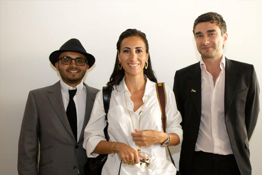 Rami Farook, Nadine Kanso and Tirdad Zolghadr at the VIP opening of the exhibition.