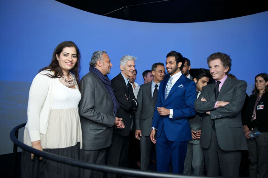 Curator Reem Fadda & Artist Mohammed Kazem with H.H. Sheikh Zayed bin Sultan bin Khalifa Al Nahyan, Jack Lang - President Institut du Monde Arabe & Massimo Bray - Italian Minister of Culture