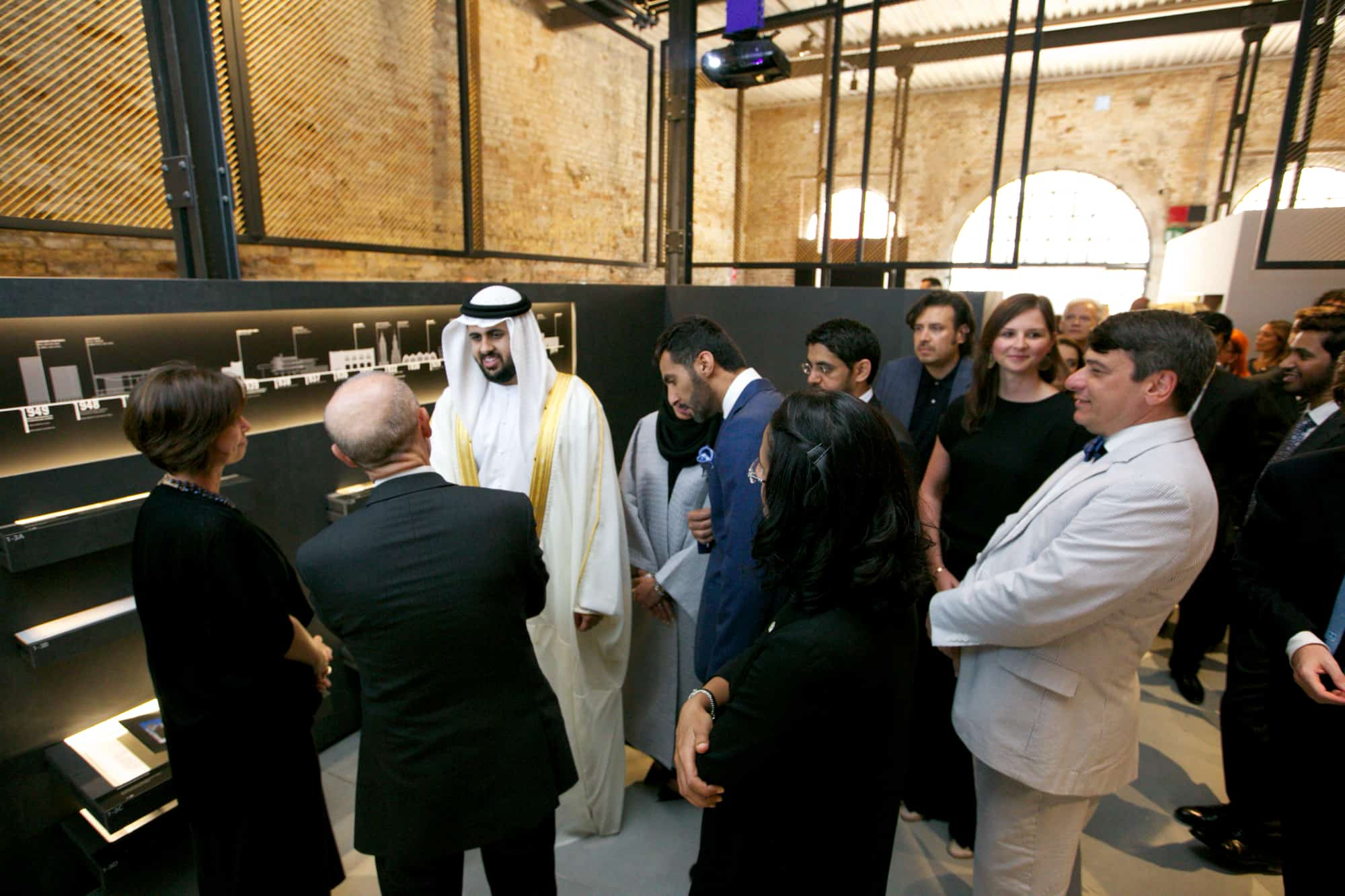Sheikh Theyab bin Mohammed Al Nahyan, trustee of the Salama bint Hamdan Al Nahyan Foundation tours the National Pavilion UAE at la Biennale di Venezia.