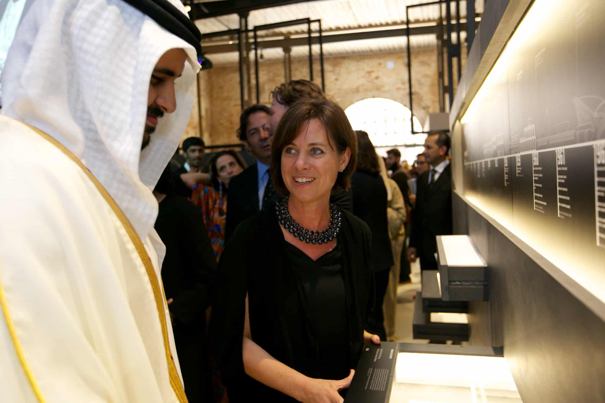 Dr. Michele Bambling, curator of the exhibition walks Sheikh Theyab bin Mohammed Al Nahyan, trustee of the Salama bint Hamdan Al Nahyan Foundation, through the exhibition.