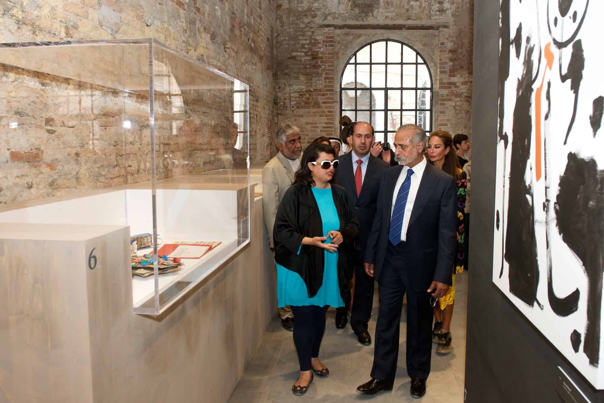 Sheikha Hoor Al Qasimi tours the exhibition with H.E Sheikh Nahayan Mabarak Al Nahayan, Minister of Culture, Youth and Community Development and H.E. Saqer Al Raisi, UAE Ambassador to Italy.